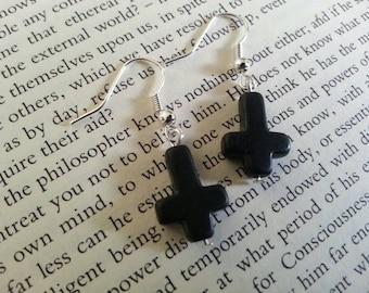 Black Inverted Stone Cross Earrings