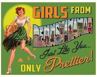 Pennsylvania Retro Pin Up Girl Girls From Pennsylvania print