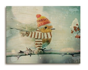 Fat winter bird art print on wood, cute baby robin wearing hat and scarf