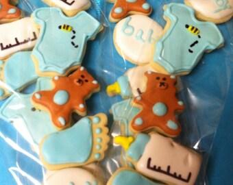 Mini Baby Boy Shower Cookies (5 Dozen/60 cookies/5 per bag)