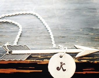 Arrow necklace with personalized charm