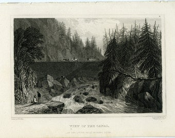 Antique steel engraving view of the canal at the little falls mohawk river new york 1830