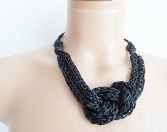 Black crochet necklace, handmade,new accessory,