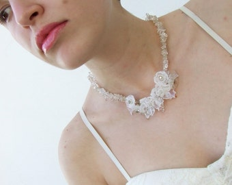 Bridal Necklace, Handmade Lampwork Romantic, Delicate White Flowers, Wedding Floral Necklace, Made to Order !