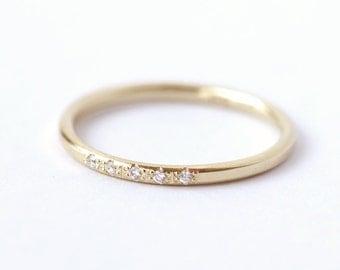 Pave Diamond Ring - Thin Diamond Wedding Ring - 18K Solid Gold