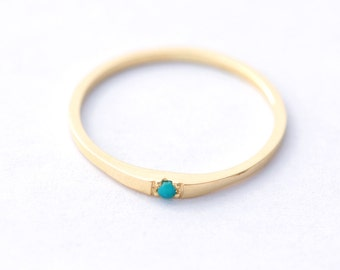 Gold Turquoise Wedding Ring - 14K Solid Gold