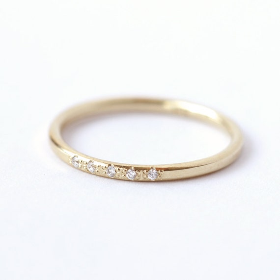 Diamond Wedding Ring Thin Diamond Band Dainty Wedding Ring