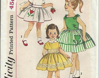 VTG 1950's Girls One-Piece Dress with Transfer Pattern, Simplicity 3531, Size 4 UNCUT