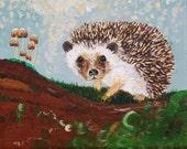 Hedgehog - 8x10 Fine Art Giclee Print - Brown - Forest - Woodland - Painting - Green - Summer - Nature - Mushroom - Woodland Wall Art