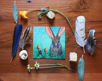 Rabbit - 4x4 Fine Art Giclee Print - Mushroom - Woodland - Green - Brown - Nature - Forest - Bunny - Painting - Whimsical-Children