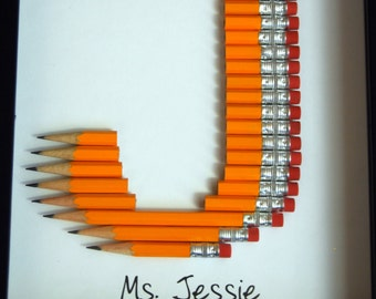 Personalized Teacher Gift: Framed Monogram in #2 pencil