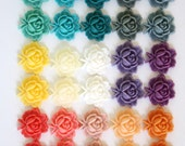 30 pcs Resin Flower Cabochons - 18mm Flat Rose Flower - Matte