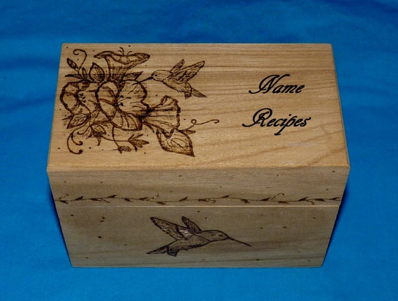Decorative Recipe Boxes New Custom Recipe Box Wood Burned Recipe Box Personalized Recipe Review