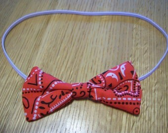 Baby or Toddler Mini Bandana Hair Bow on an Elastic Band---2 by 3 Inches in Size--2.50 Shipping