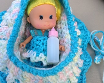 Adorable turquoise crochet cradle purse with doll blanket pillow and baby bottle church purse girls purse with doll  READY TO SHIP