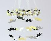 Mustache Nursery Mobile in Yellow, Black, Gray & White LARGE SIZE- Mustache Nursery, Little Man Nursery