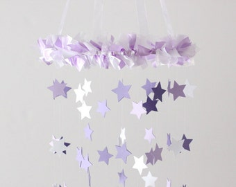 Star Mobile- Lavender & White Nursery Mobile, Shower Gift, Photographer Prop