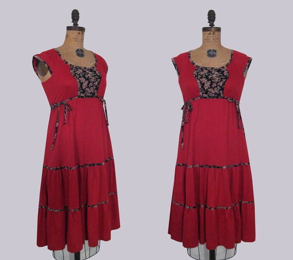 1970s red dirndl style dress • 70s peasant dress • vintage taking a chance on love sundress
