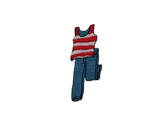 ID #7850 Red Striped Shirt with Pants Fashion Iron On Embroidered Patch Applique