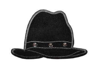 ID #7972 Black Jeweled Hat Fashion Iron On Embroidered Patch Applique