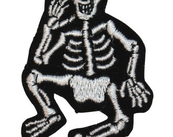 ID #0883 Smiling Skeleton Bones Halloween Embroidered Iron On Applique Patch