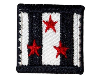 ID #8979 Stars and Stripes Stamp Square Shape Embroidered Iron On Applique Patch