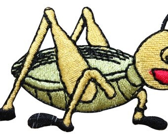 ID #1603A Grasshopper Cricket Insect Bug Embroidered Iron On Applique Patch