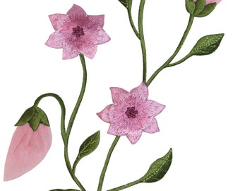 ID #6164 Pink Flowers Bunch Budding Plant Embroidered Iron On Badge Applique Patch