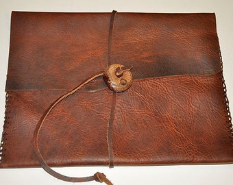 "IPAD/TABLET COVER 12 1/4"" x 9 1/2"" Bison Leather Handstiched - Handmade"
