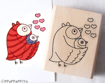 Owl mom & baby Rubber Stamp