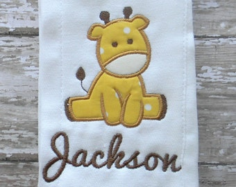Baby Giraffe Burp Cloth Rag Monogrammed with Name Yellow & Brown Boys Girls
