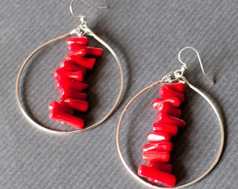Hoop Earrings/ Red Coral / gemstne earrings/ funky/ unique jewelry/ artistic/ statement
