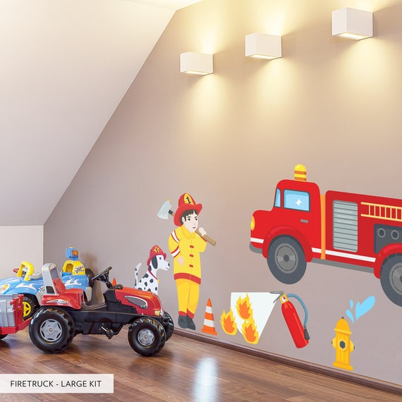 Firetruck Printed Wall Decal Kids Room Wall By