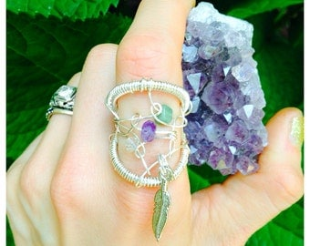Dreamcatcher Ring - Wire wrapped & crocheted statement ring - Any color - Any stones - Any size