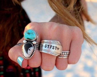 STAMPED SPOON RINg Made to Order - You choose Design - Handstamped Upcycled Spoon - gypsy spoon ring