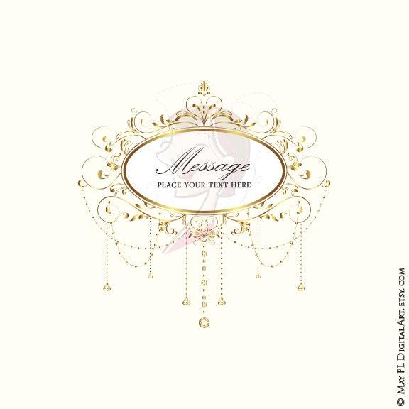 Wedding Clip Art Gold Foliage Clipart Vine Monogram Frame