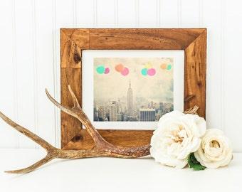 "Balloons Over New York City - 8x10 photograph - ""Balloons over the City"" - vintage photography - Manhattan  - New York skyline"