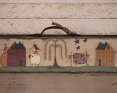 Handcrafted Primitive Decor With Saltbox Houses, Sheep, Willow Tree, Crow, & Stars
