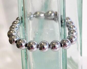 Magnetic hematite bracelet - bright silver 8mm beads - custom sized