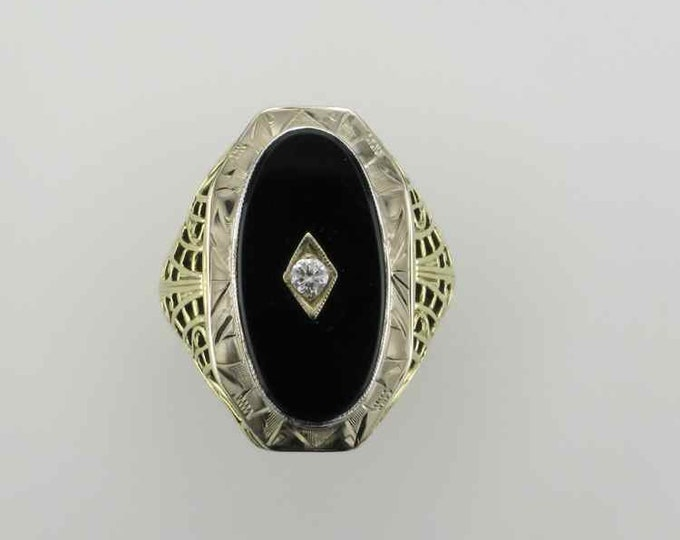 Yellow and White Gold Black Onyx and Diamond Filigree Ring; Black Onyx Ring; Filigree Ring; Filigree Black Onyx Ring