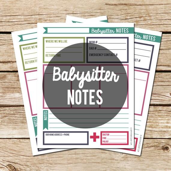 Printable Babysitter Notes Digital PDF Home By Happyprintsshop
