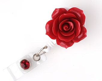 Full Bloom Crimson Rose - Retractable ID Badge Holder - Flower Badge Reel - Designer ID Reel - RN Gift - Pretty Name Badge Clip - BadgeBloom