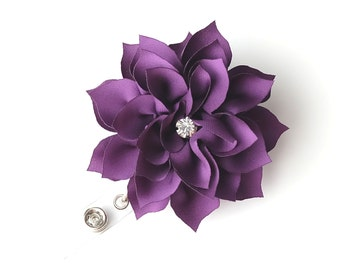Large Violet Bloom - Flower Badge Holder - Pretty Badge Reel - Retractable ID Badge Clip - Teacher Gift - Nurse Badge Pulls - BadgeBlooms