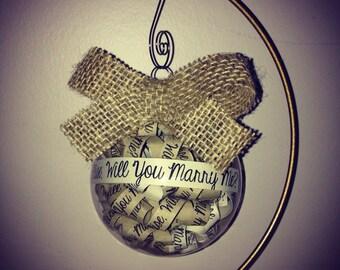 Proposal Ornament, Will you marry me? Ornament, Unique Proposal Idea, Christmas Proposal, Engagement Keepsake