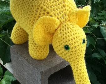 MADE TO ORDER -Large Elephant - Stuffed toy - toddler, baby, child, girls, boys, safety eyes, yarn, play, fun, birthday