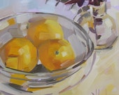 Lemons and Blue Violet Flowers Original Oil Painting