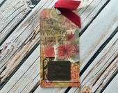 Handmade Christmas Gift Tag - Vintage Distressed Style - Merry Christmas Large Tag