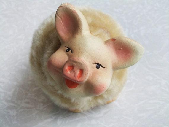 Vintage Pig Figurine, Smiling Happy Pig in Fur Coat, Piggy Home Decor