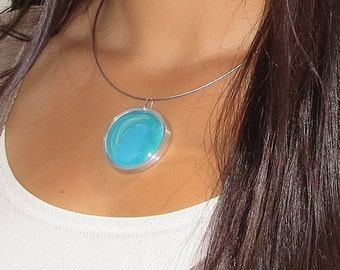 Turquoise Blue Pendant,  Melted glass marble pendant, glass jewelry, necklace pendant 030