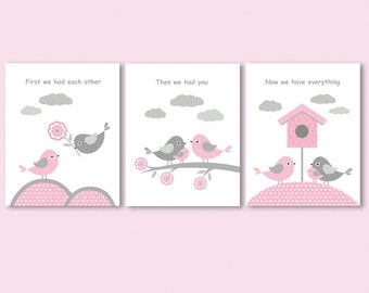 First we had each other, then we had you, now we have everything - set of 3 prints / posters, collages for nursery with quote, pink and grey